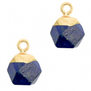 Natural stone charms hexagon Dark Blue-Gold