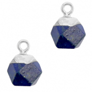 Natural stone charms hexagon Dark Blue-Silver
