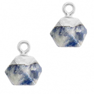 Natural stone charms hexagon Blue White-Silver