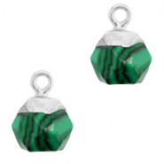 Natural stone charms hexagon Green-Silver