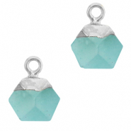 Natural stone charms hexagon Turquoise Blue-Silver
