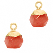 Natural stone charms hexagon Crimsom Red-Gold