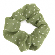 Scrunchies hair tie dots Green