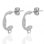 DQ European metal findings earpin twist with loop Antique Silver (nickel free)