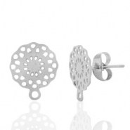 Stainless steel earrings/earpin flower with loop Silver