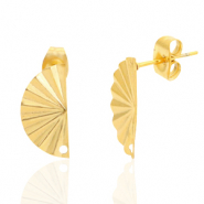 Stainless steel earrings/earpin hand fan with eye Gold