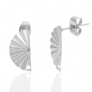 Stainless steel earrings/earpin hand fan with eye Silver
