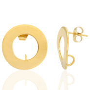 Stainless steel earrings/earpin round 18mm with loop Gold