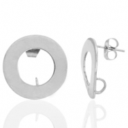Stainless steel earrings/earpin round 18mm with loop Silver