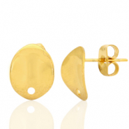 Stainless steel earrings/earpin oval with eye Gold