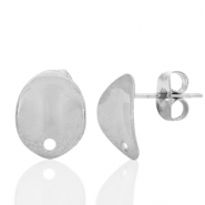 Stainless steel earrings/earpin oval with eye Silver