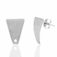 Stainless steel earrings/earpin trapezoid with eye Silver