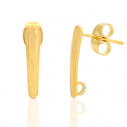 Stainless steel earrings/earpin oblong with loop Gold