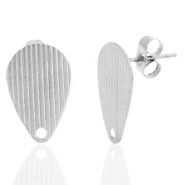 Stainless steel earrings/earpin drop with eye Silver