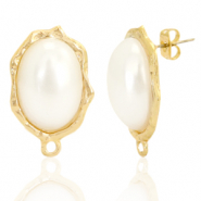 DQ European metal findings earpin pearl oval with loop Gold (nickel free)