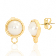 DQ European metal findings earpin pearl round 10mm with loop Gold (nickel free)