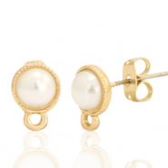 DQ European metal findings earpin pearl round 7mm pearl with loop Gold (nickel free)