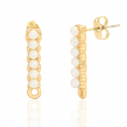 DQ European metal findings earpin pearl oblong with loop Gold (nickel free)