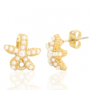 DQ European metal findings earpin pearl starfish with loop Gold (nickel free)