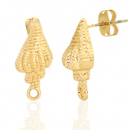 DQ European metal findings earpin shell with loop Gold (nickel free)