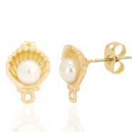DQ European metal findings earpin pearl shell with loop Gold (nickel free)