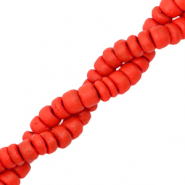 Coconut beads disc 6mm Red