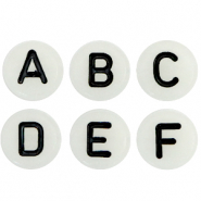 Acrylic letter beads glow-in-the-dark mix Off White-Black