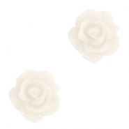 Rose beads 10mm Vanilla Ice White