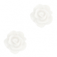 Rose beads 10mm Bright White