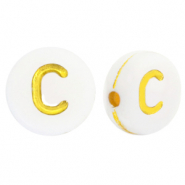 Acrylic letter beads C White-Gold