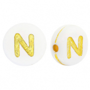 Acrylic letter beads N White-Gold