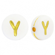 Acrylic letter beads Y White-Gold