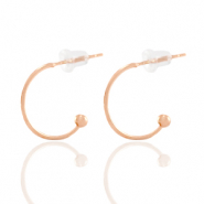DQ European metal findings creole earrings 15mm Rose Gold (nickel free)