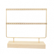 Jewellery display two rows for earrings with wooden standard Natural-Gold