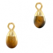 Natural stone charms drop Topaz Brown-Gold