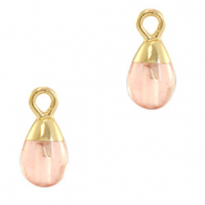 Natural stone charms drop Blossom Pink-Gold