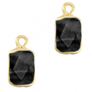 Natural stone charms rectangle Black-Gold