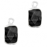 Natural stone charms rectangle Black-Silver