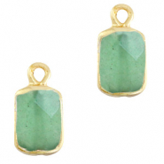 Natural stone charms rectangle Ocean Green-Gold