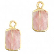 Natural stone charms rectangle Blossom Pink-Gold