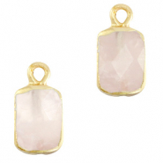 Natural stone charms rectangle White Rose-Gold