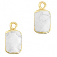 Natural stone charms rectangle Marble White-Gold
