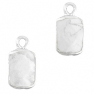 Natural stone charms rectangle Marble White-Silver