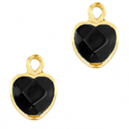 Natural stone charms heart Black-Gold