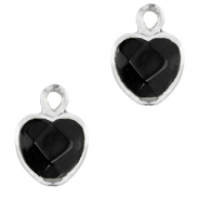 Natural stone charms heart Black-Silver