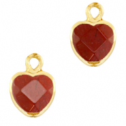 Natural stone charms heart Terracotta Brown-Gold
