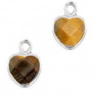 Natural stone charms heart Topaz Brown-Silver