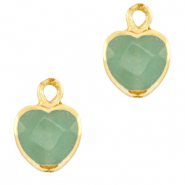 Natural stone charms heart Ocean Green-Gold
