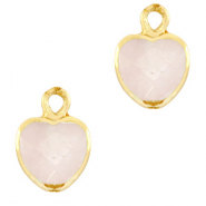 Natural stone charms heart White Rose-Gold