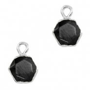 Natural stone charms hexagon Black-Silver